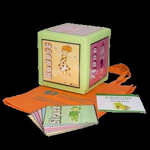 Zabawka edukacyjna, kostka edukacyjna i obrazki do nauki emocji